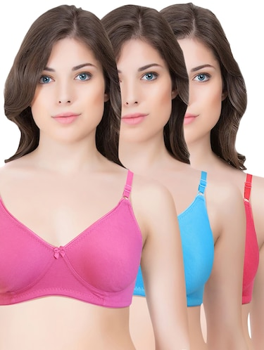 set of 3 multi colored cotton bra - 14899468 - Standard Image - 1