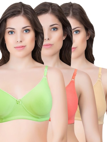 set of 3 multi colored cotton bra - 14899533 - Standard Image - 1