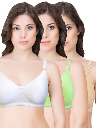 set of 3 multi colored cotton bra - 14899534 - Standard Image - 1