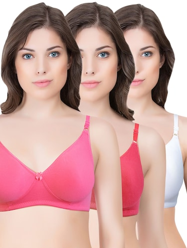 set of 3 multi colored cotton bra - 14899540 - Standard Image - 1