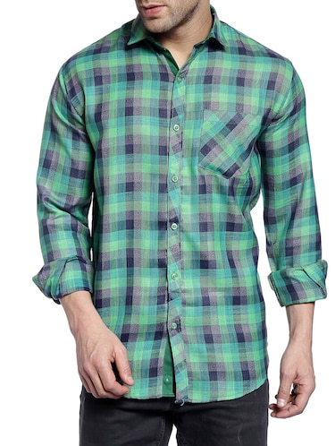 green cotton casual shirt - 14899918 - Standard Image - 1