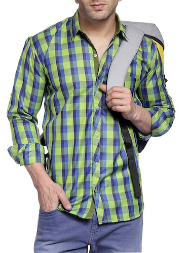 green cotton casual shirt - 14899937 - Standard Image - 1