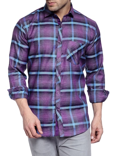 purple cotton casual shirt - 14899962 - Standard Image - 1