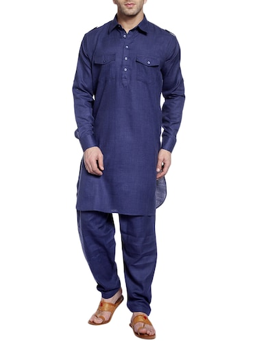 navy cotton pathani ethnic wear set - 14899966 - Standard Image - 1
