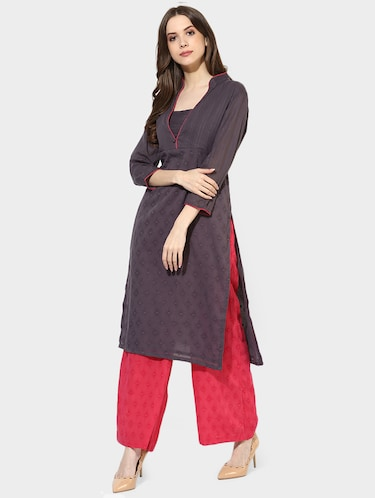 Indian Dobby grey cotton straight kurta - 14900610 - Standard Image - 1