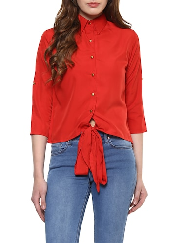 solid red front tie up shirt - 14900637 - Standard Image - 1