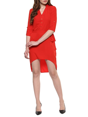 red solid high low dress - 14900640 - Standard Image - 1