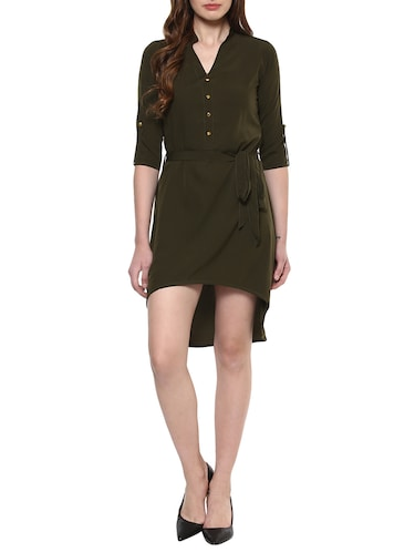 solid olive asymmetric dress - 14900644 - Standard Image - 1