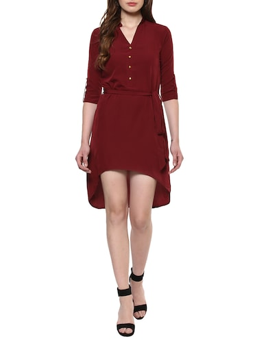 maroon solid high-low dress - 14900645 - Standard Image - 1