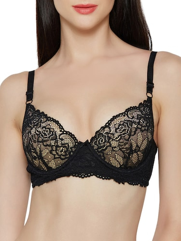 black cotton blend tshirt bra - 14900695 - Standard Image - 1
