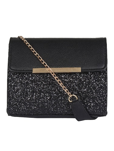 black leatherette sling bag - 14900744 - Standard Image - 1
