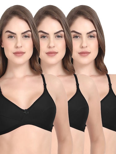 Set of 3 black solid bras - 14901428 - Standard Image - 1