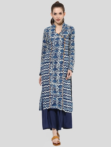 Indian Dobby blue cotton straight kurta - 14901685 - Standard Image - 1