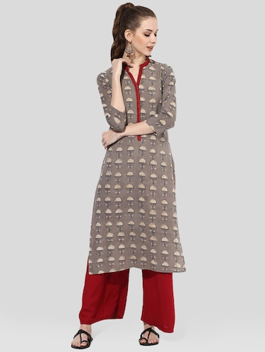 brown cotton straight kurta - 14901689 - Standard Image - 1