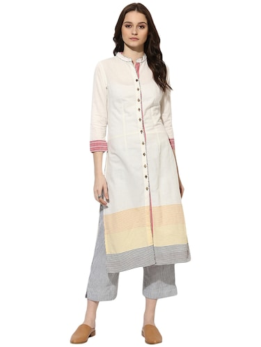 Indian Dobby white cotton straight kurta - 14901713 - Standard Image - 1