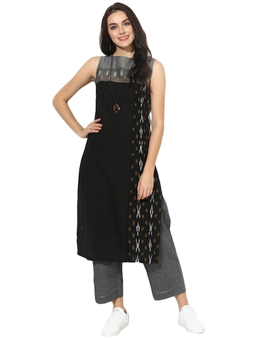 Indian Dobby grey cotton straight kurta - 14901717 - Standard Image - 1