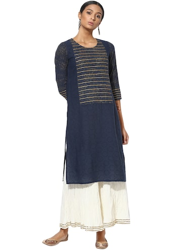 Indian Dobby blue cotton straight kurta - 14901721 - Standard Image - 1
