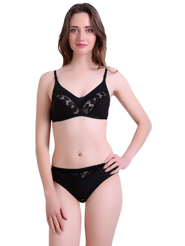 black hosery bra and panty set - 14901742 - Standard Image - 1