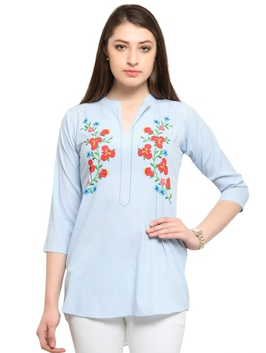 blue printed crepe tunic - 14901908 - Standard Image - 1