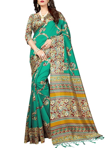 green silk blend mysore saree with blouse - 14901924 - Standard Image - 1
