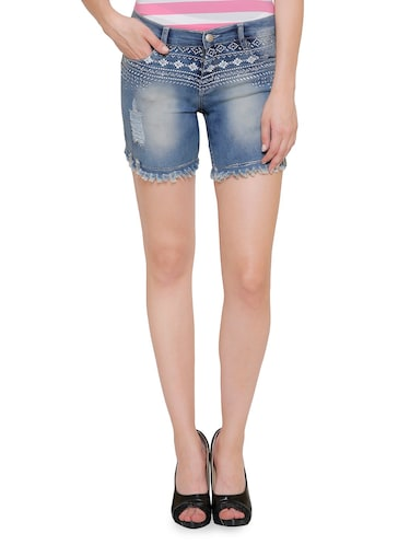 blue denim hot pants short - 14902006 - Standard Image - 1