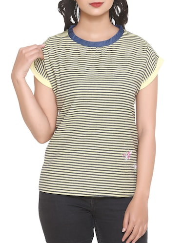 black striped georgette tee - 14902274 - Standard Image - 1