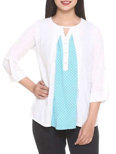 white printed georgette top - 14902278 - Standard Image - 1