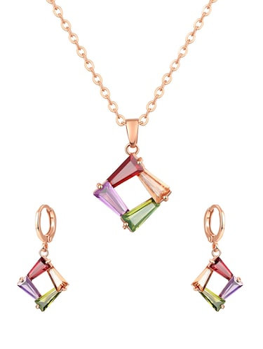 multi colored brass pendants and earrings - 14903135 - Standard Image - 1