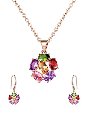 multi colored brass pendants and earrings - 14903179 - Standard Image - 1