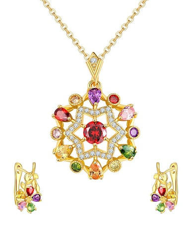 multi colored brass pendants and earrings - 14903184 - Standard Image - 1