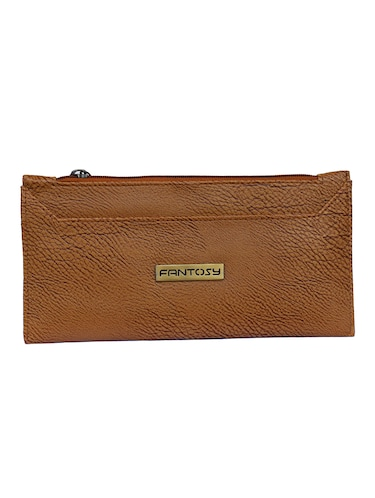 brown leatherette clutch - 14903438 - Standard Image - 1