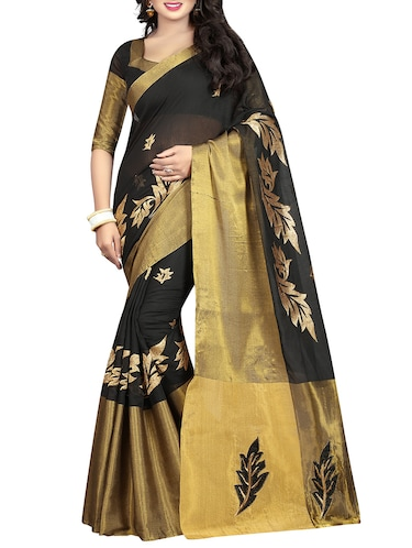 black cotton silk embroidered saree with blouse - 14904269 - Standard Image - 1