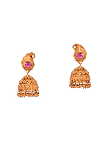 gold metal jhumka earrings - 14905045 - Standard Image - 1