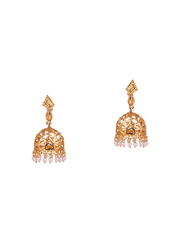 gold metal jhumka earrings - 14905058 - Standard Image - 1