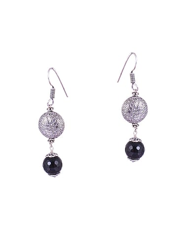 silver metal drop earrings - 14905074 - Standard Image - 1