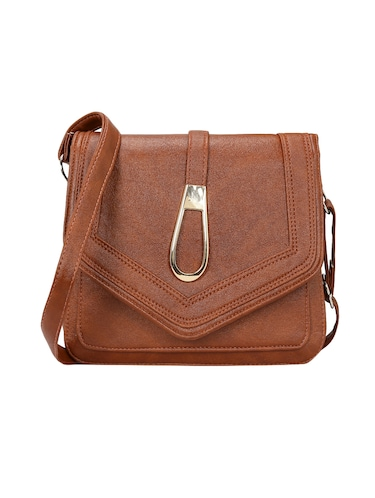 brown leatherette  regular sling bag - 14905666 - Standard Image - 1