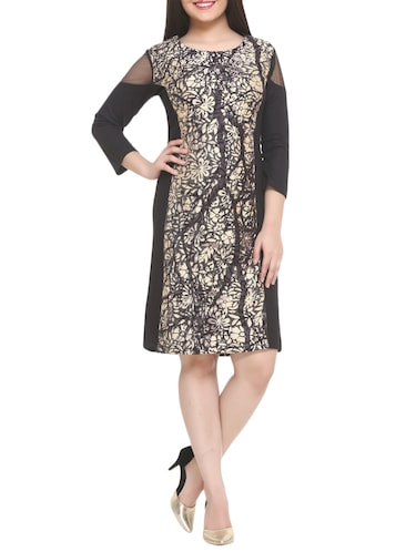 black printed a-line dress - 14905675 - Standard Image - 1