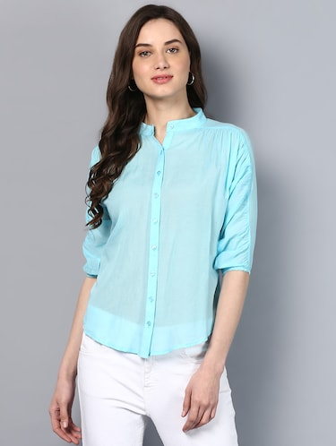 solid blue cotton shirt - 14905835 - Standard Image - 1