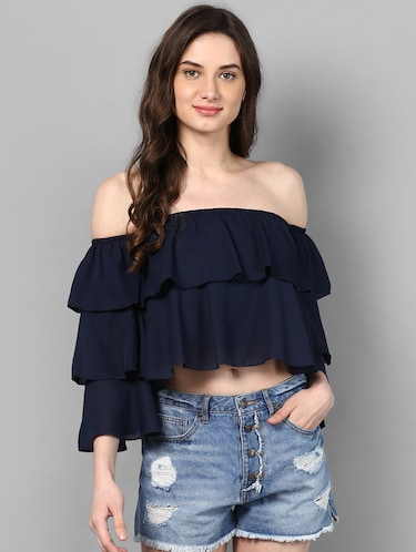 off shoulder layered crop top - 14905850 - Standard Image - 1