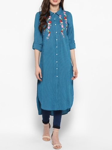 blue cotton highlow kurta - 14905949 - Standard Image - 1
