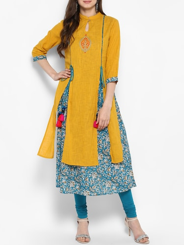 mustard cotton layered kurta - 14906003 - Standard Image - 1