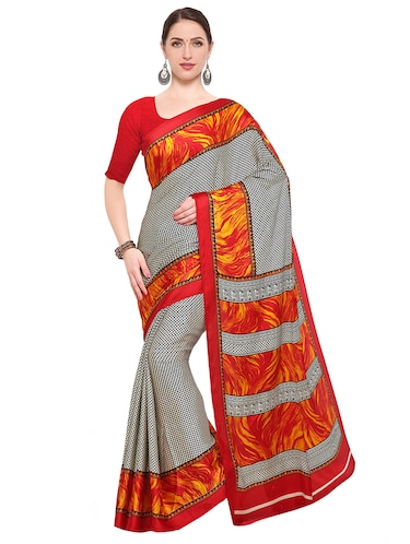 Grey printed saree with blouse - 14906991 - Standard Image - 1