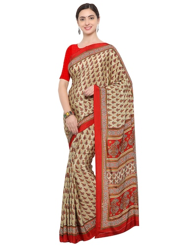 beige crepe printed saree with blouse - 14906994 - Standard Image - 1