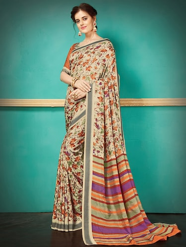 beige silk blend printed saree with blouse - 14907004 - Standard Image - 1
