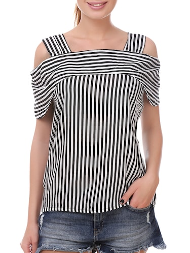 black rayon striped top - 14907883 - Standard Image - 1