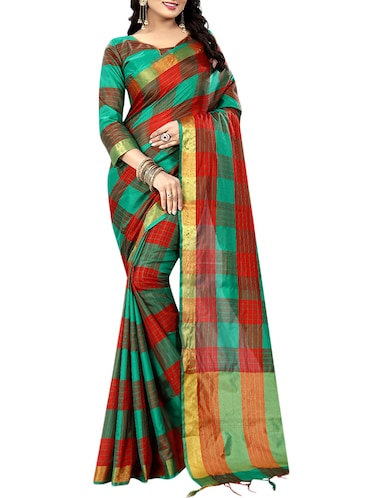 maroon cotton silk ikat saree with blouse - 14907927 - Standard Image - 1