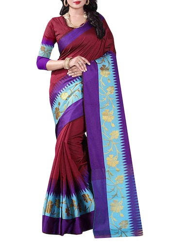 maroon cotton woven saree with blouse - 14907931 - Standard Image - 1