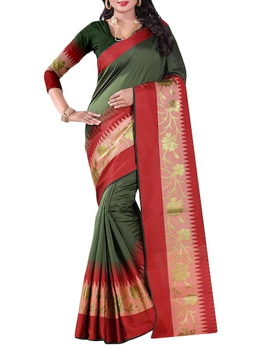 multi cotton woven saree with blouse - 14907932 - Standard Image - 1