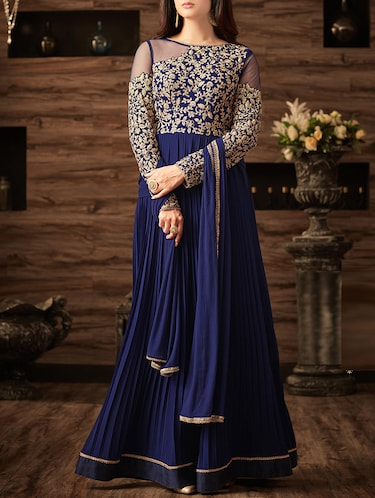 Embroidered flared semi-stitched suit - 14908024 - Standard Image - 1