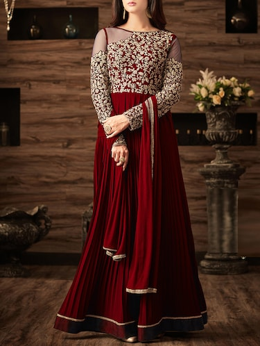 maroon georgette semi-stitched flared suit - 14908025 - Standard Image - 1